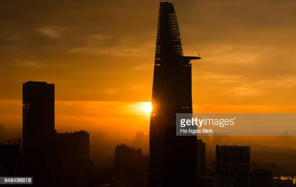 Bitexco Financial Tower in sunset
