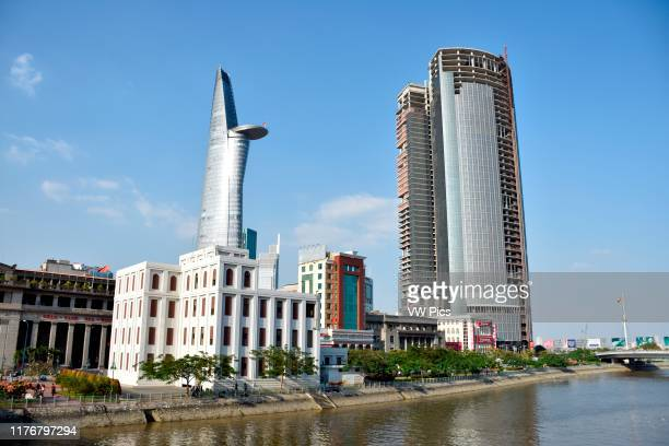Bitexco Financial Tower viewed from the Saigon River Ho Chi Minh City Vietnam