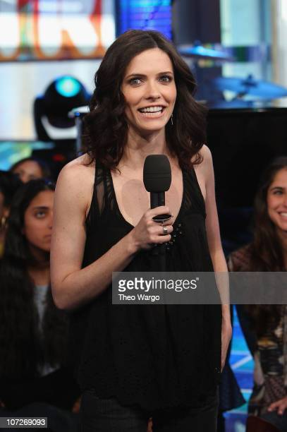 Bitsie Tulloch visits MTV's TRL Studios in Times Square New York City on February 27 2008