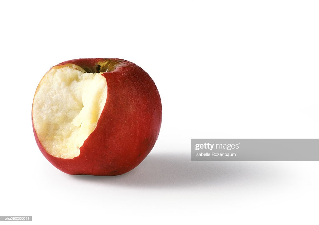 Bitten red apple, white background : Foto stock