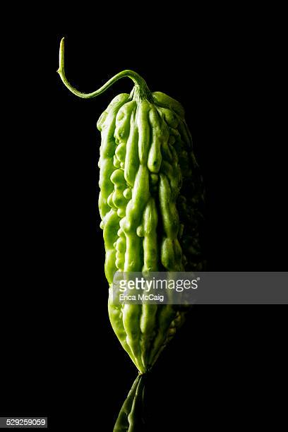 Bitter melon isolated on black background