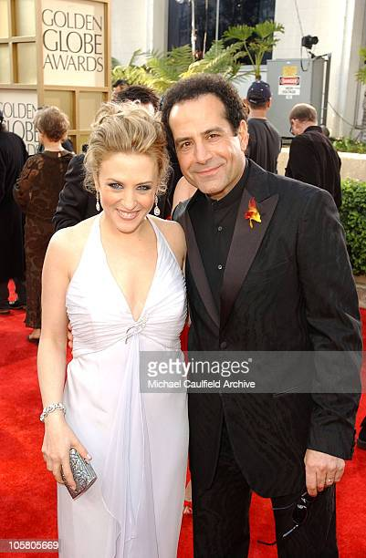 Bitty Schram and Tony Shalhoub during The 61st Annual Golden Globe Awards - Access Hollywood Platform Arrivals at The Beverly Hilton Hotel in Beverly...