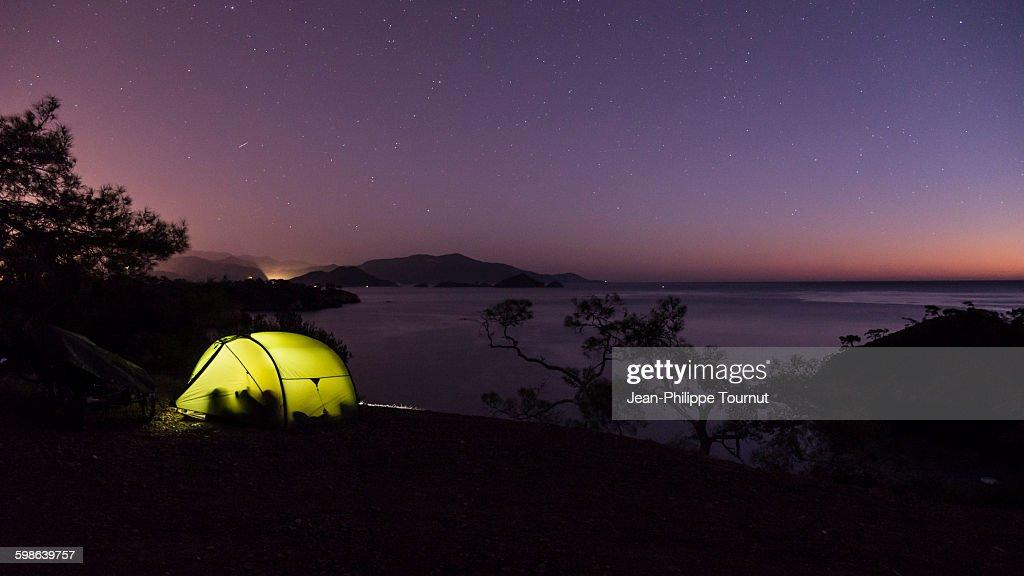 Bivouac by the Aegean Sea, Southern Turkey : ストックフォト