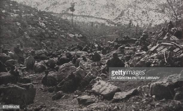 Bivouac of Italian soldiers on Mount Valbella Battle of Piave Italy World War I from l'Illustrazione Italiana Year XLV No 25 June 23 1918