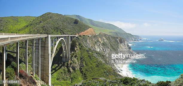 bixby bridge and big sur coastline - monterey peninsula stock pictures, royalty-free photos & images
