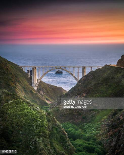 bixby bridge from old coast road - big sur, ca - big sur stock photos and pictures
