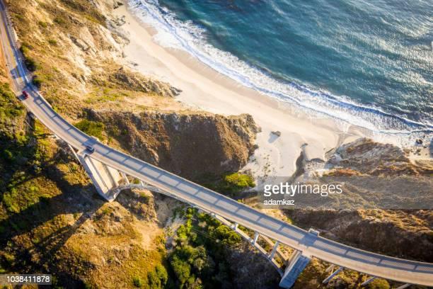 bixby bridge in monterey county california - big sur stock photos and pictures