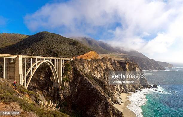 bixby bridge on the california coastline - big sur stock photos and pictures