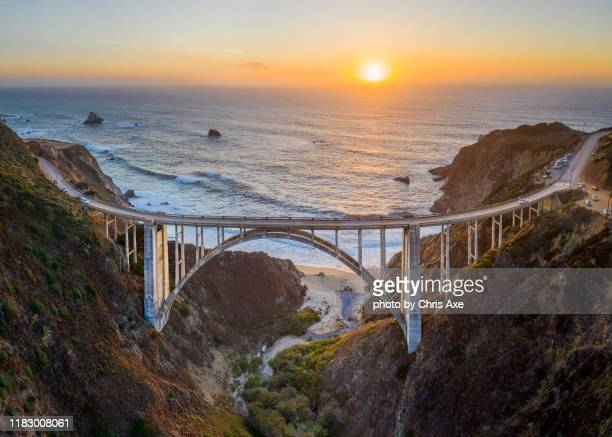 bixby bridge sunset from above - big sur, ca - california stock pictures, royalty-free photos & images