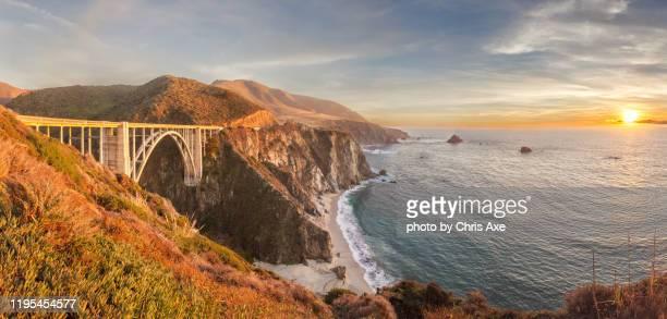 bixby bridge sunset panorama - big sur, ca - 2010 2019 stock pictures, royalty-free photos & images