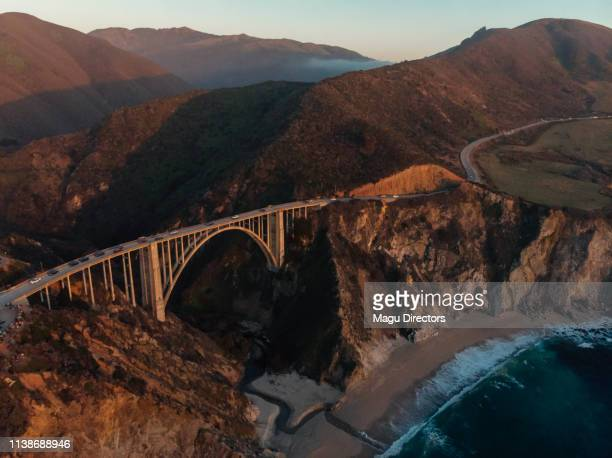 bixby creek bridge at big sur coastline, california, usa - mcway falls stock pictures, royalty-free photos & images