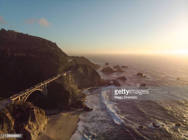 bixby creek bridge at big sur coastline, california, usa - mcway falls stock pictures, royalty-free photos & images