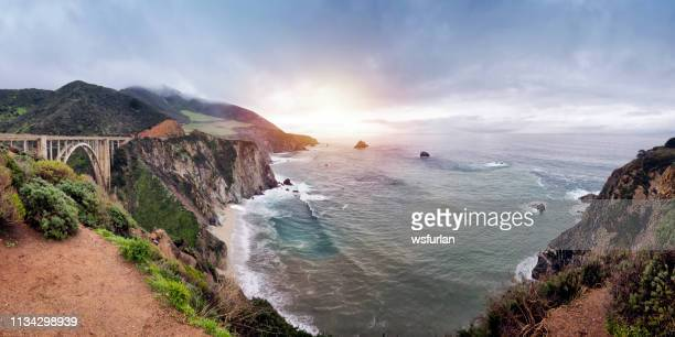 bixby creek bridge at california state route 1 - monterrey stock pictures, royalty-free photos & images