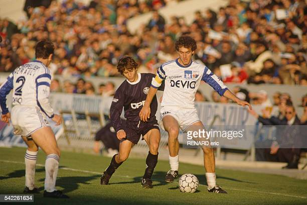Bixente Lizarazu and Laurent Blanc during a match of the French Championship season 19891990