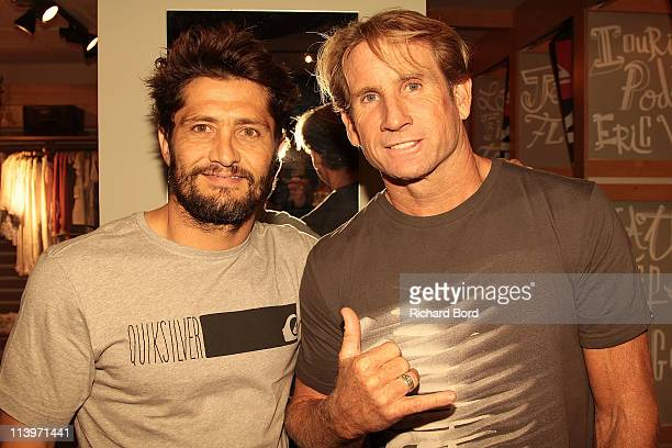 Bixente Lizarazu and Multiple World windsurfing Champion Robby Naish pose during the Quicksikver flagship inauguration at Bercy Village on May 10...