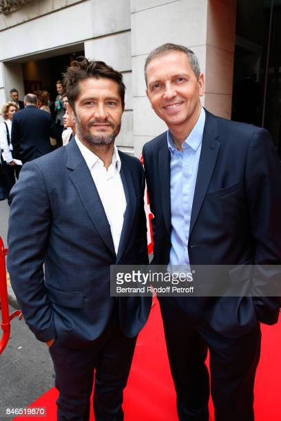 Bixente Lizarazu and Thomas Hugues attend the RTL RTL2 Fun Radio Press Conference to announce their TV Schedule for 2017/2018 at Elysee Biarritz at...
