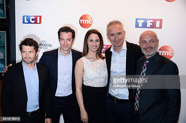 Bixente Lizarazu, Fred Calenge, Charlotte Namura, Franck Leboeuf and Christian Jeanpierre during a photocall at TF1 on May 17, 2016 in Paris, France.