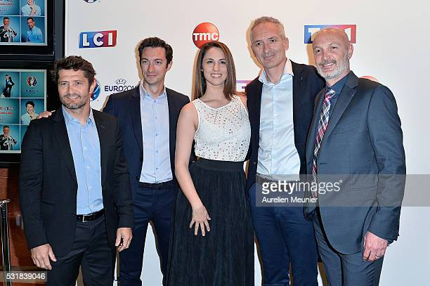 Bixente Lizarazu, Frederic Calenge, Charlotte Namura, Christian Jeanpierre and Franck Leboeuf attend the UEFA press conference photocall at TF1 on...