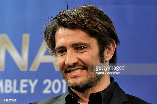 Bixente Lizarazu of FC Bayern Munchen looks on after the UEFA Champions League semifinal draw at the UEFA headquarters on April 12 2013 in Nyon...