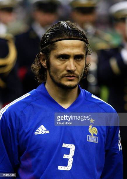 Bixente Lizarazu of France during the team lineup before the International friendly match between France and Egypt on April 30 2003 at The Stade de...