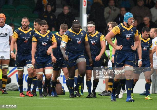 Biyi Alo of Worcester Warriors celebrates scoring their first try during the Aviva Premiership match between Worcester Warriors and Wasps at Sixways...