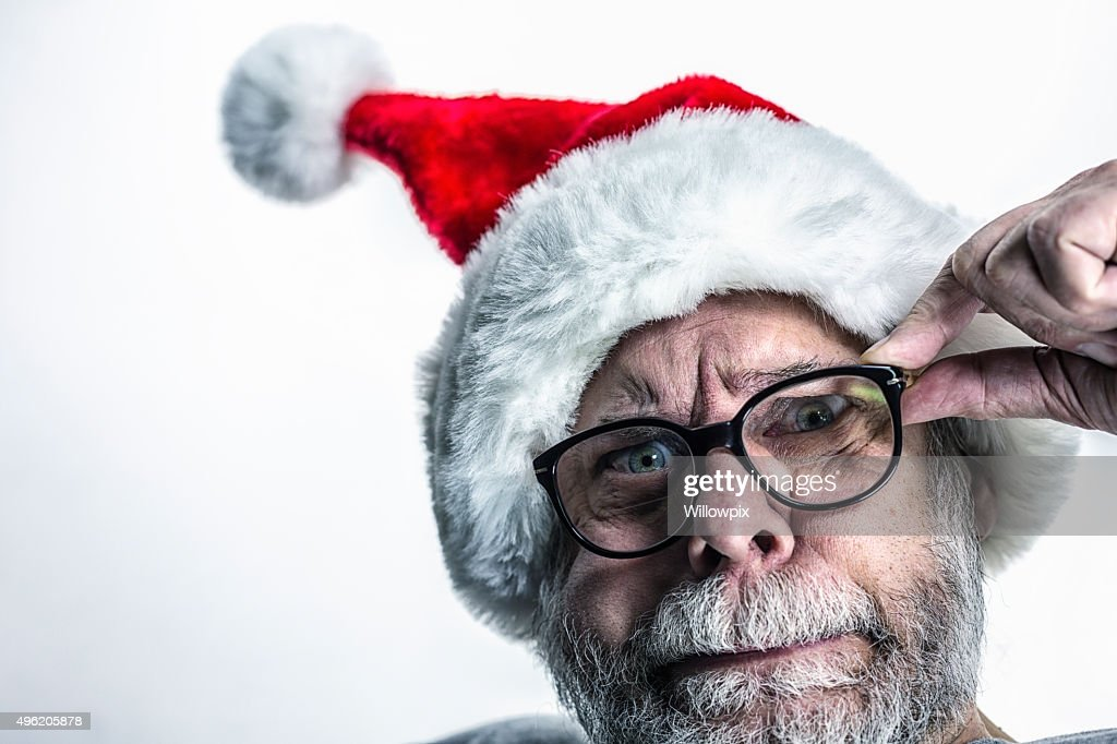 Bizarre Anxious Fearful Santa Claus : Stock Photo
