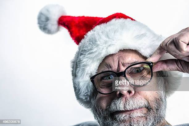 bizarre anxious fearful santa claus - santa face stock pictures, royalty-free photos & images