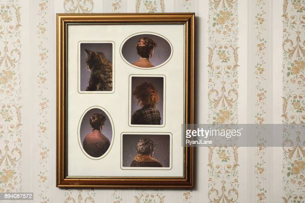 bizarre backwards vintage portrait - puss pics stock photos and pictures