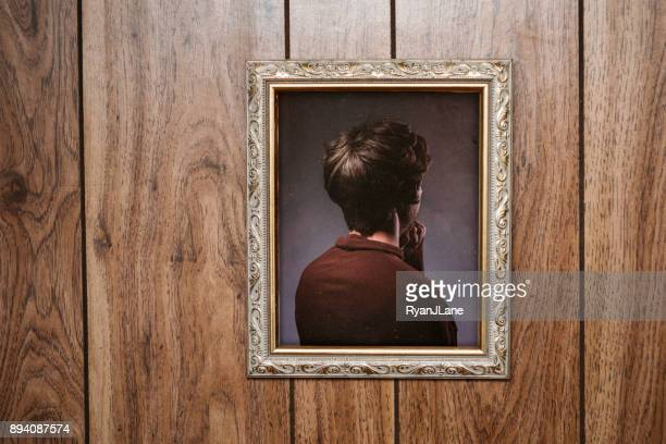 bizarre backwards vintage portrait - photo frame stock pictures, royalty-free photos & images
