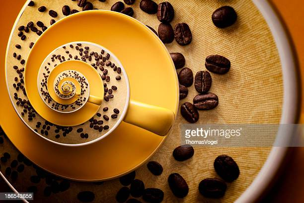 Bizarre Cup  Fractal Spiral Surreal Coffee gold Floral