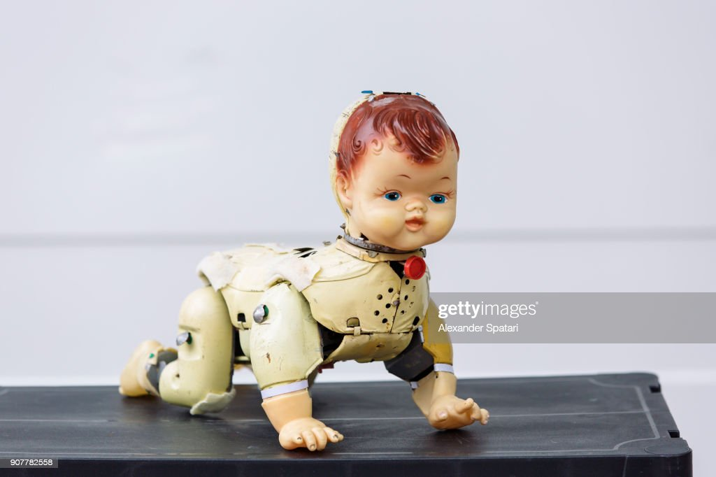 Bizarre old doll at the flea market : Stock Photo