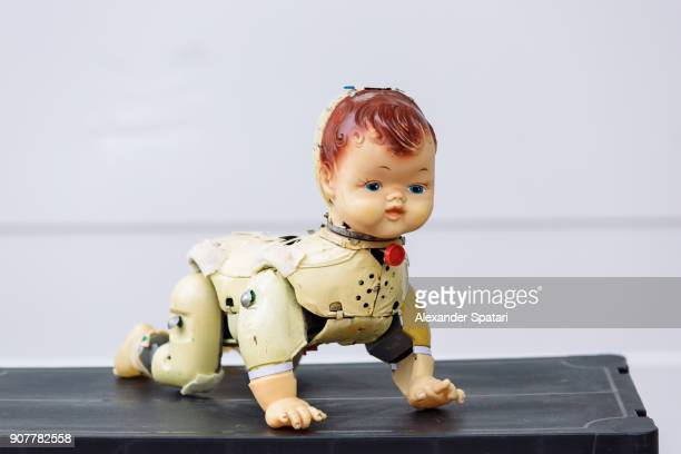 bizarre old doll at the flea market - evil stock photos and pictures