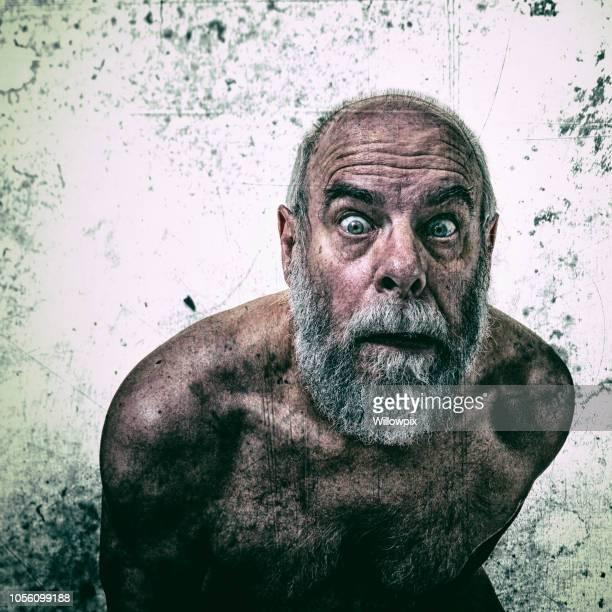 Bizarre Surprised Insane Senior Man Staring