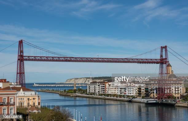 bizkaia bridge, puente colgante, transporter bridge, bilbao, spain - bilbao fotografías e imágenes de stock