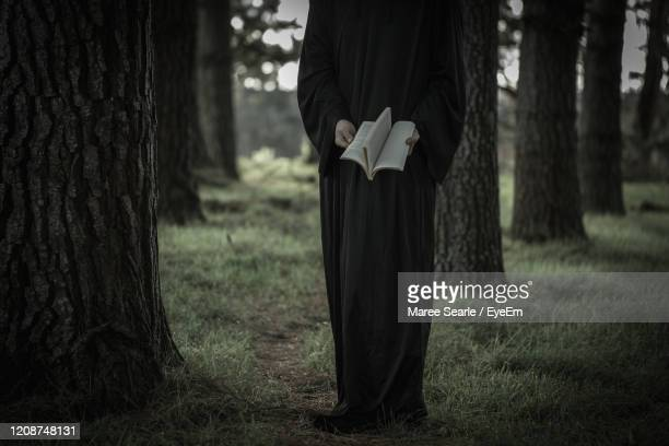 bizzare women reading in forest - cambridge new zealand stock pictures, royalty-free photos & images