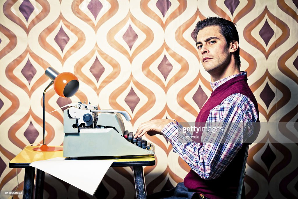 Bizzarre Vintage Office Worker Typing : Stock Photo