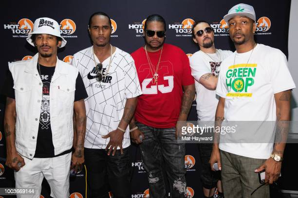 Bizzy Bone Wish Bone Layzie Bone Krayzie Bone and FleshnBone of Bone Thugs n Harmony pose for a photo back stage during the All Star Throwback Jam...