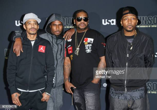 Bizzy Bone Wish Bone Layzie Bone Krayzie Bone and FleshnBone of Bone ThugsNHarmony arrive to the Los Angeles premiere of USA Network's Unsolved The...