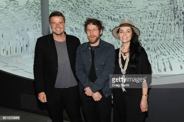 Bjarke Ingels Dustin Yellin and Es Devlin attend the opening of The XI Gallery With Bjarke Ingels Es Devlin and Helene Ziel Feldman on April 25 2018...