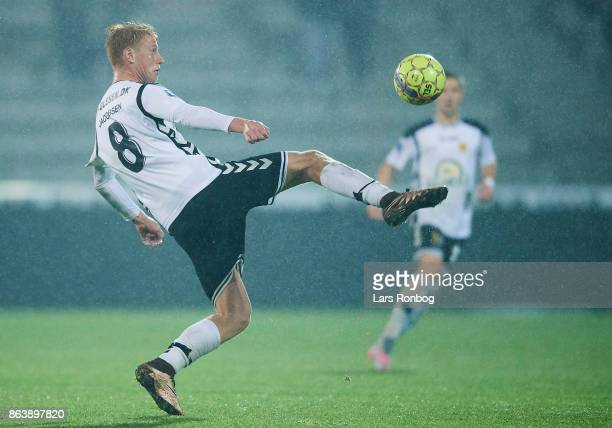 Bjarke Jacobsen of AC Horsens controls the ball during the Danish Alka Superliga match between FC Midtjylland and AC Horsens at MCH Arena on October...