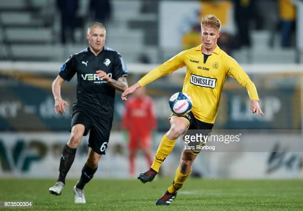 Bjarke Jacobsen of AC Horsens controls the ball during the Danish Alka Superliga match between AC Horsens and Randers FC at CASA Arena Horsens on...