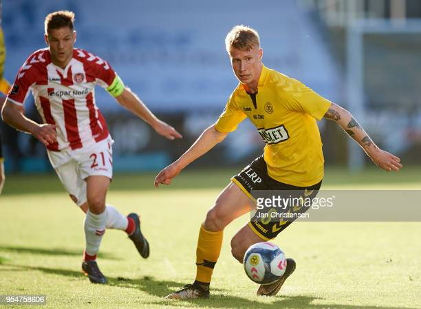 Bjarke Jacobsen of AC Horsens in action during the Danish Alka Superliga match between AC Horsens and AaB Aalborg at Casa Arena Horsens on May 04...