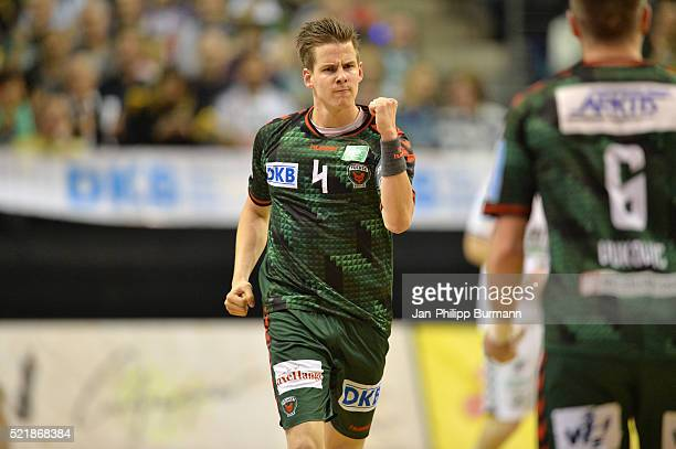 Bjarki Mar Elisson of Fuechse Berlin celebrates the 2320 win during the game between Fuechse Berlin and dem HSG Wetzlar on April 17 2016 in Berlin...