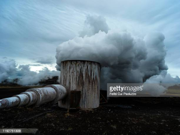 bjarnarflag power station at myvatn, northeast iceland - district heating plant stock pictures, royalty-free photos & images