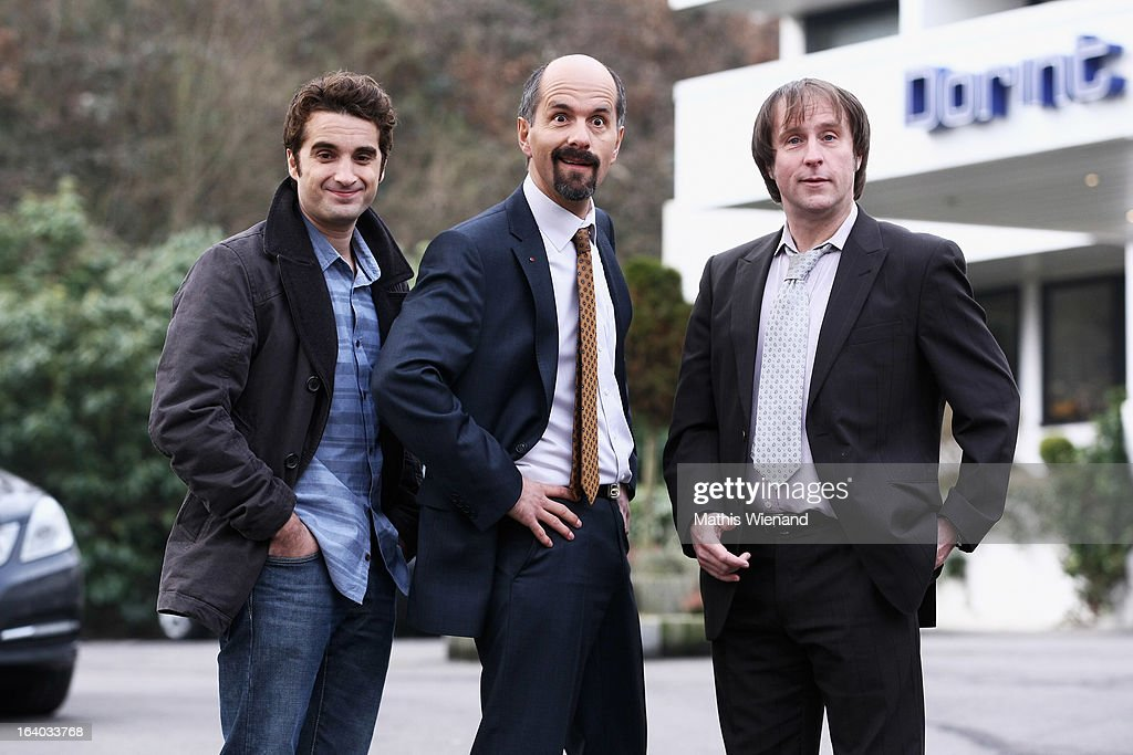 Bjarne Maedel (who plays Ernie), Christoph Maria Herbst (who plays Bernd Stromberg) and Oliver Wnuk (who plays Ulf) visit the set of 'Stromberg - Der Film' at Dorint Hotel on March 19, 2013 in Arnsberg, Germany.