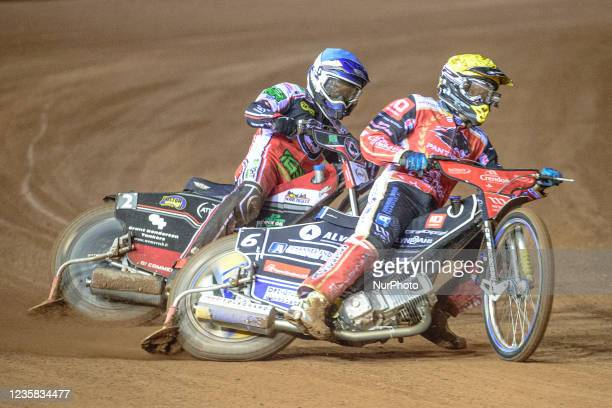 Bjarne Pedersen leads Richie Worrall during the SGB Premiership Grand Final 1st Leg between Belle Vue Aces and Peterborough Panthers at the National...