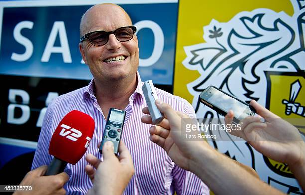 Bjarne Riis, manager of Tinkoff Saxo speaks to the media prior to stage three of the Tour of Denmark between Skanderborg and Vejle on August 8, 2014...