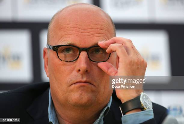 Bjarne Riis of Denmark and team manager of Tinkoff-Saxo addresses the media during a press conference prior to the 2014 Le Tour de France on July 4,...