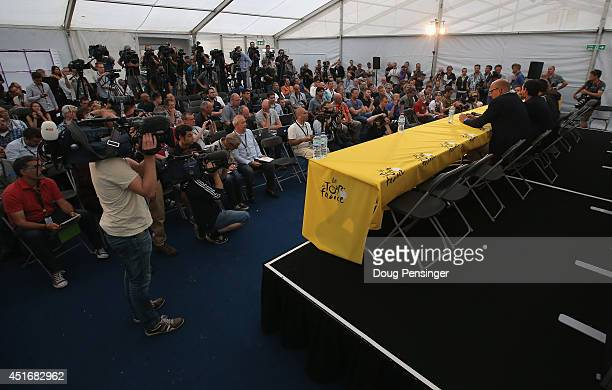 Bjarne Riis of Denmark and team manager of Tinkoff-Saxo and rider Alberto Contador of Spain and Tinkoff-Saxo address the media during a press...