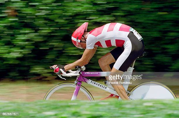 Bjarne Riis of Denmark rides in the Men's Individual Time Trial event during the XXVI Summer Olympic Games on 3 August 1996 on the Buckhead Cycling...